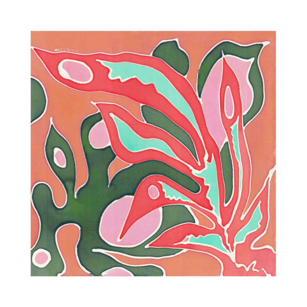 Hand Painted Silk Scarf-Fauna