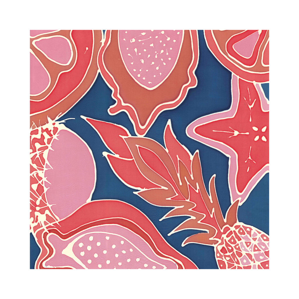 Hand Painted Silk Scarf-Tropical Fruits