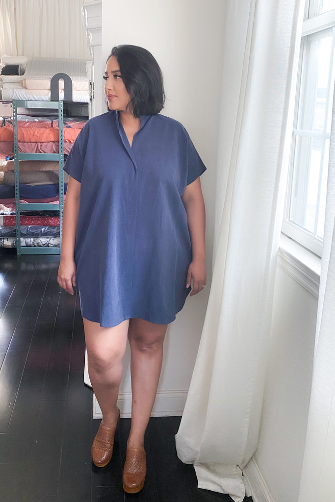 Shirt Dress in Indigo Tencel