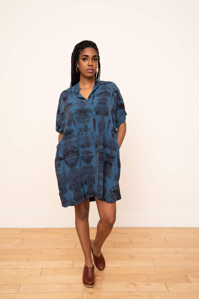 Shirt Dress Hand Dyed Ikat Blue