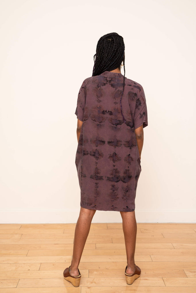 Shirt Dress Hand Dyed Ikat Plum