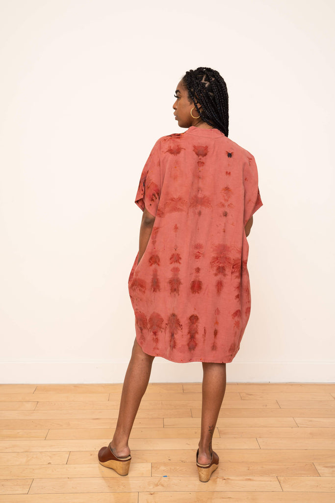 Shirt Dress Hand Dyed Ikat Rose