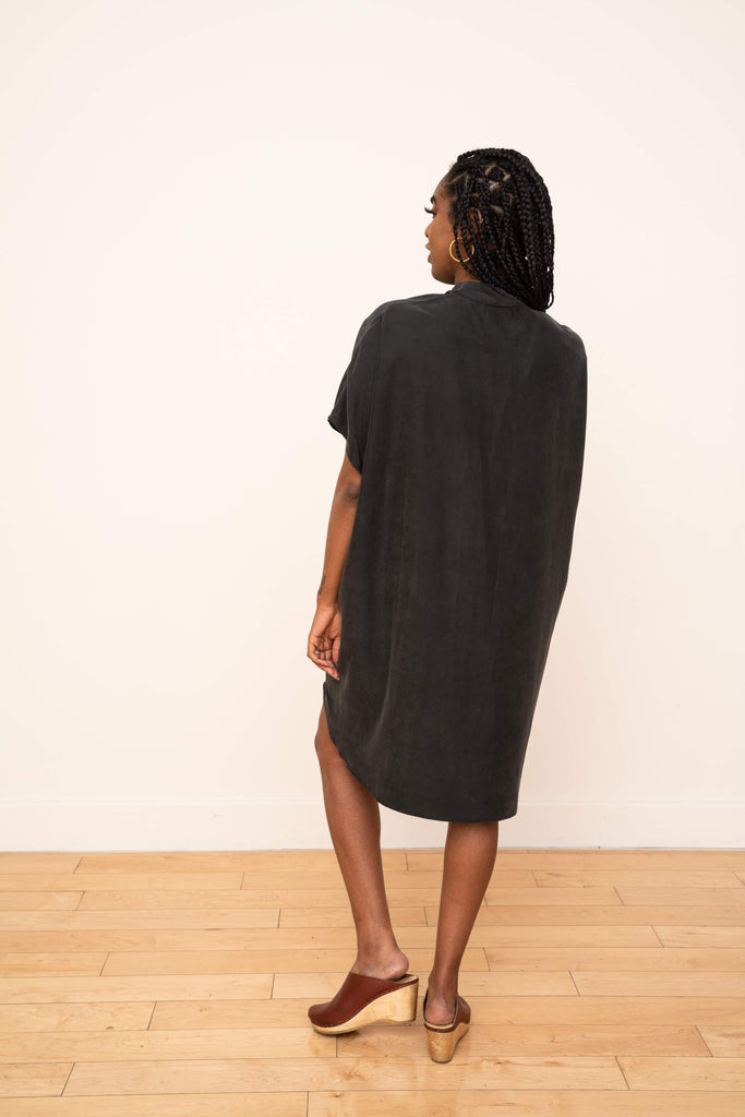 Shirt Dress in Black Modal Cupro