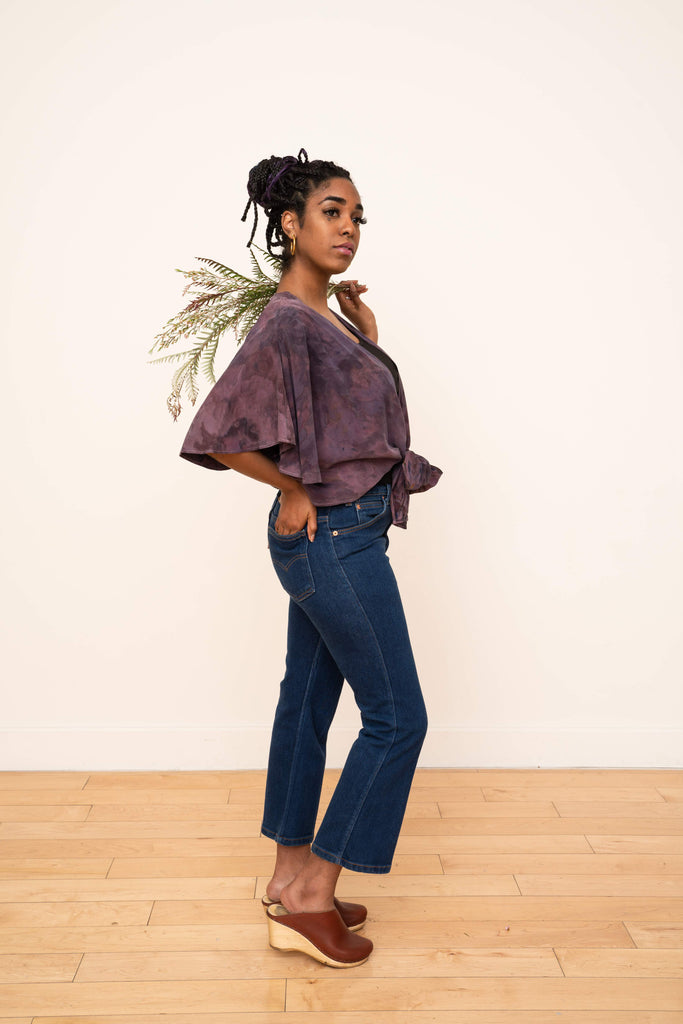 Valentina Wrap Top in Petal Plum