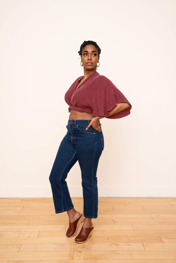 Valentina Wrap Top in Berry