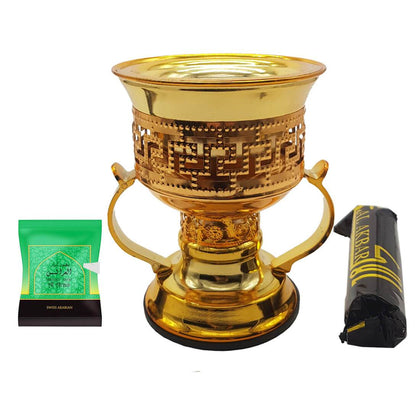 Non Electrical Bakhoor Burner with 10 Coal Coins & 40g Fragrance Paste - Golden