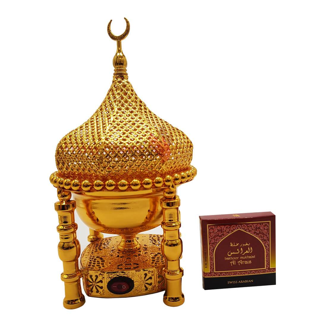 Electrical Bakhoor Burner & 50g Fragrance Paste - Golden