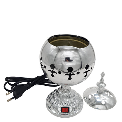 Exclusive Electrical Bakhoor Burner & 40g Fragrance Paste - Silver