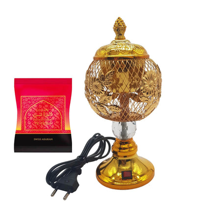 Electrical Bakhoor Burner & 40g Fragrance Paste - Golden