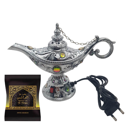 Electrical Bakhoor Burner & 40g Fragrance Paste - Silver
