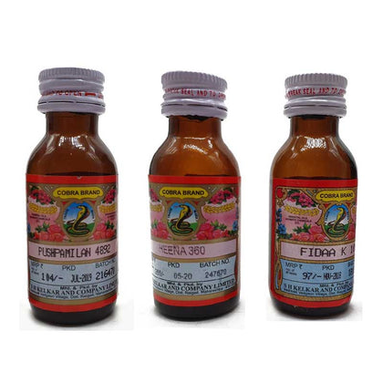 Kelkar cobra Brand Heena 360,pushpmilan 4892, Fidaa k 10 Pack of 3 attar 25 ml Each