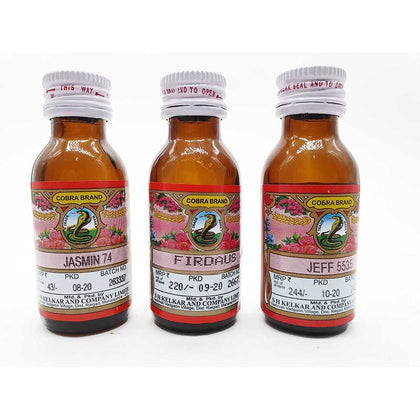 Kelkar cobra Brand Jasmin 74 , firdaus , Jeff 5535 Pack of 3 attar 25 ml Each