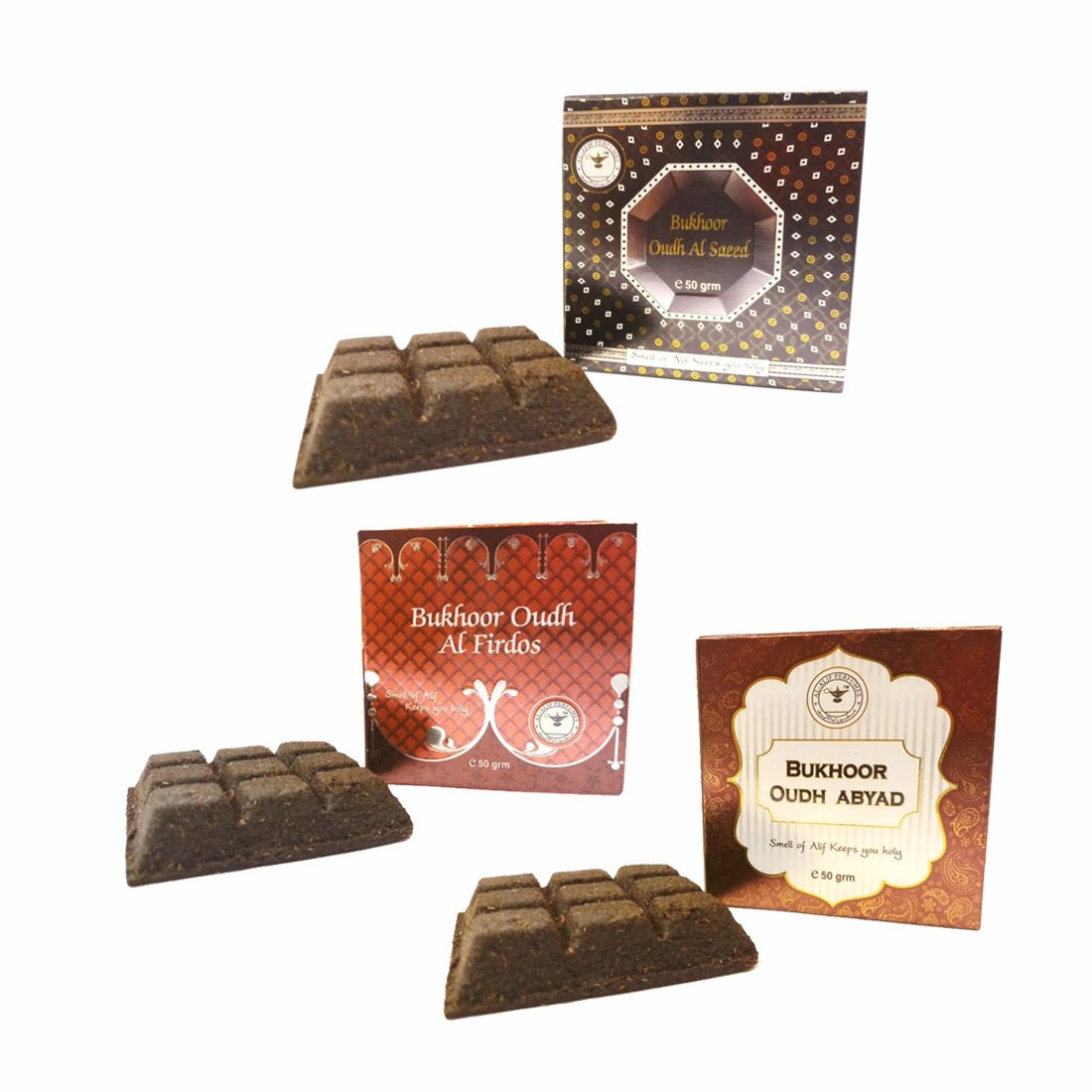 Alif Bukhoor Oudh Abyad, Al Firdous & Al Saeed Incense Home Fragrance Combo Pack Of 3 x 50g