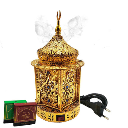 Electrical Bakhoor Burner & 2 Fragrance Paste - Golden