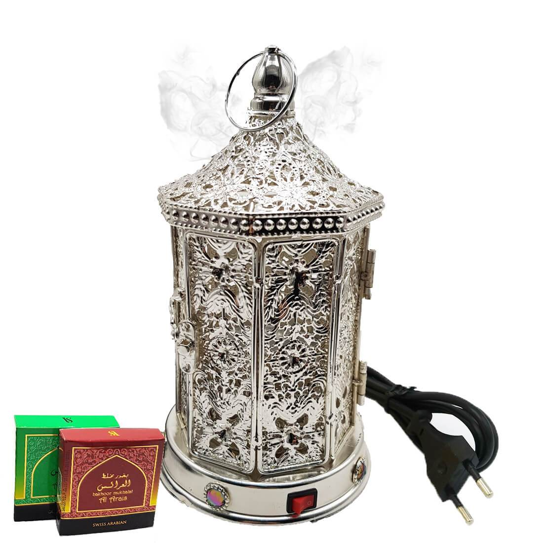 Electrical Bakhoor Burner & 2 Fragrance Paste - Silver