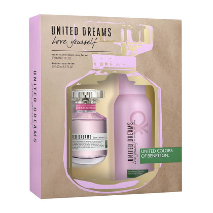 United Colors of Benetton Love Yourself Fragrance Gift Set Eau de Toilette Perfume 80ml + Deodorant Spray 150ml