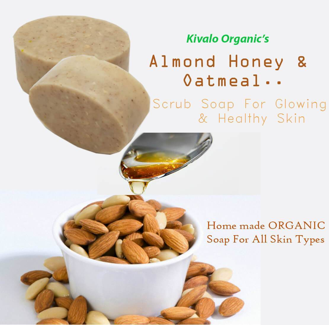 Organic Soap Almond, Honey & Oatmeal Scrub Bath Soap