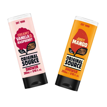 Original Source Shower Gel Pack of 2 ( Jucy Mango , Creamy Vanilla & Raspberry )