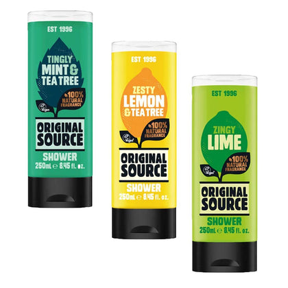 Original Source Shower Gel Pack Of 3 ( Tingly Mint & Tea Tree , Zesty Lemon & Tea , Zingy Lime )