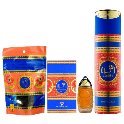 Swiss Arabian Zahra Combo Pack of Attar, Deodorant & Bakhoor Paste 100% original