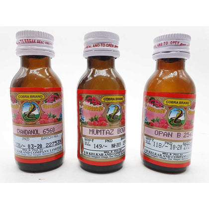 Kelkar cobra Brand , chandanol 6560 , mumtaz boq , Opan B 2542  Pack of 3 attar 25 ml Each