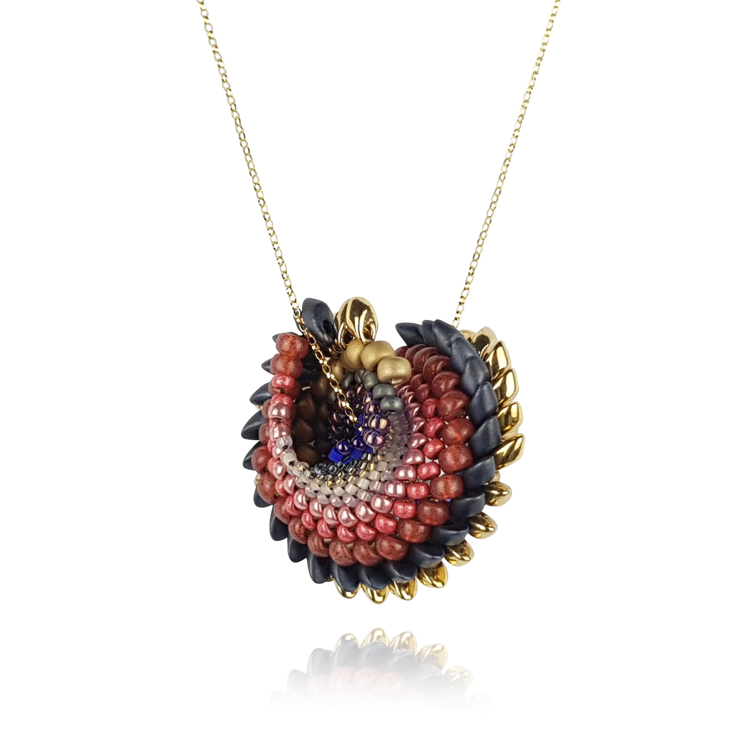 To Have And To Hold Necklace - Cranberry & Gold