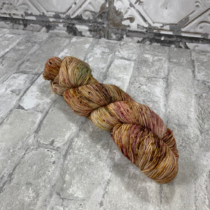 Autumn Path on Gold 400 yards of super wash fingering weight yarn