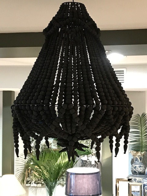 Hand Beaded Black Chandelier