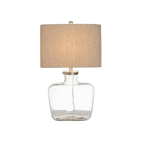 Fillable Glass Lamp w. Linen Shade