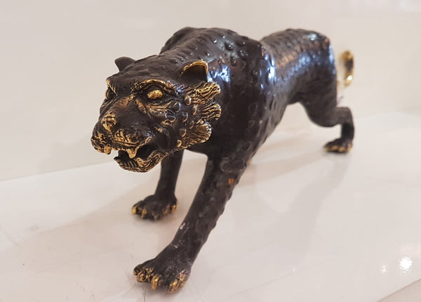 Dark Bronze Leopard Scuplture