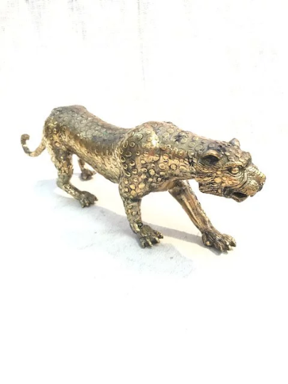 Brass Leopard Sculpture