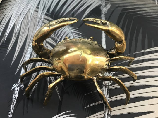 Mini Brass Crab Sculpture