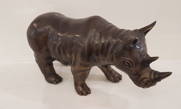 Brass Rhino Sculpture
