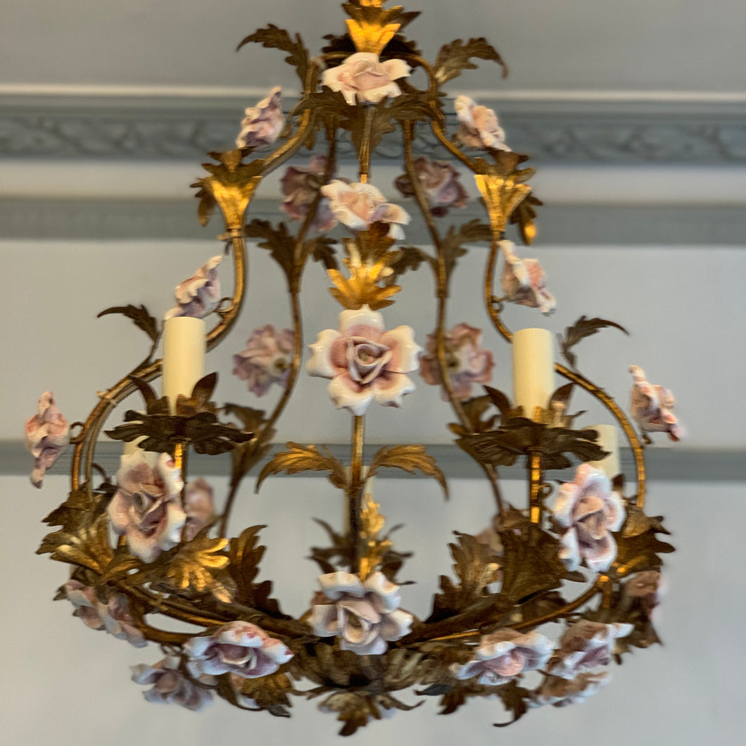 Wonderful French chandelier with china roses