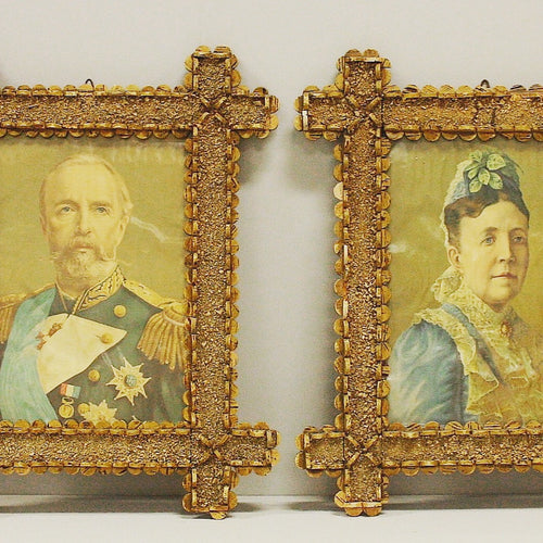 Swedish folk art framed pictures of Oscar II and Sofia of Nassau
