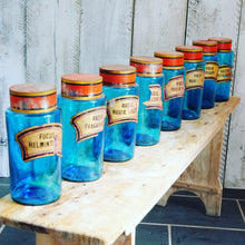 Load image into Gallery viewer, Set of 8 French pharmacy jars in azure blue