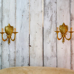 Pair of gilded Italian pineapple wall sconces