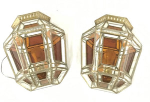 Great pair of Spanish crystal wall lamps