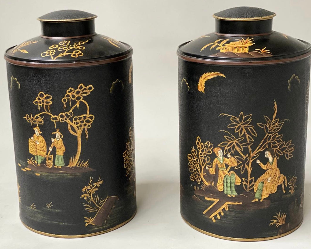 Pair of chinoiserie tea caddies