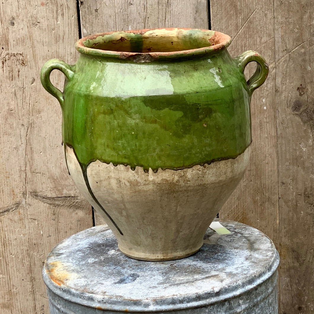 Green glazed french confit pot