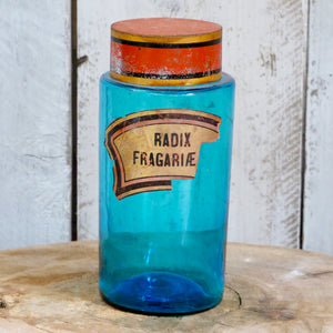 Set of 8 French pharmacy jars in azure blue