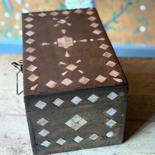 Small teak box inlaid with bone