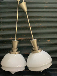 Pair of Art Deco Opaline pendant lamps