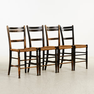 Set of 4 French cafe chairs in original paint