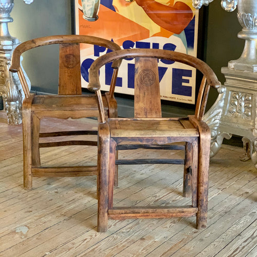Great pair of Chinese oak chairs