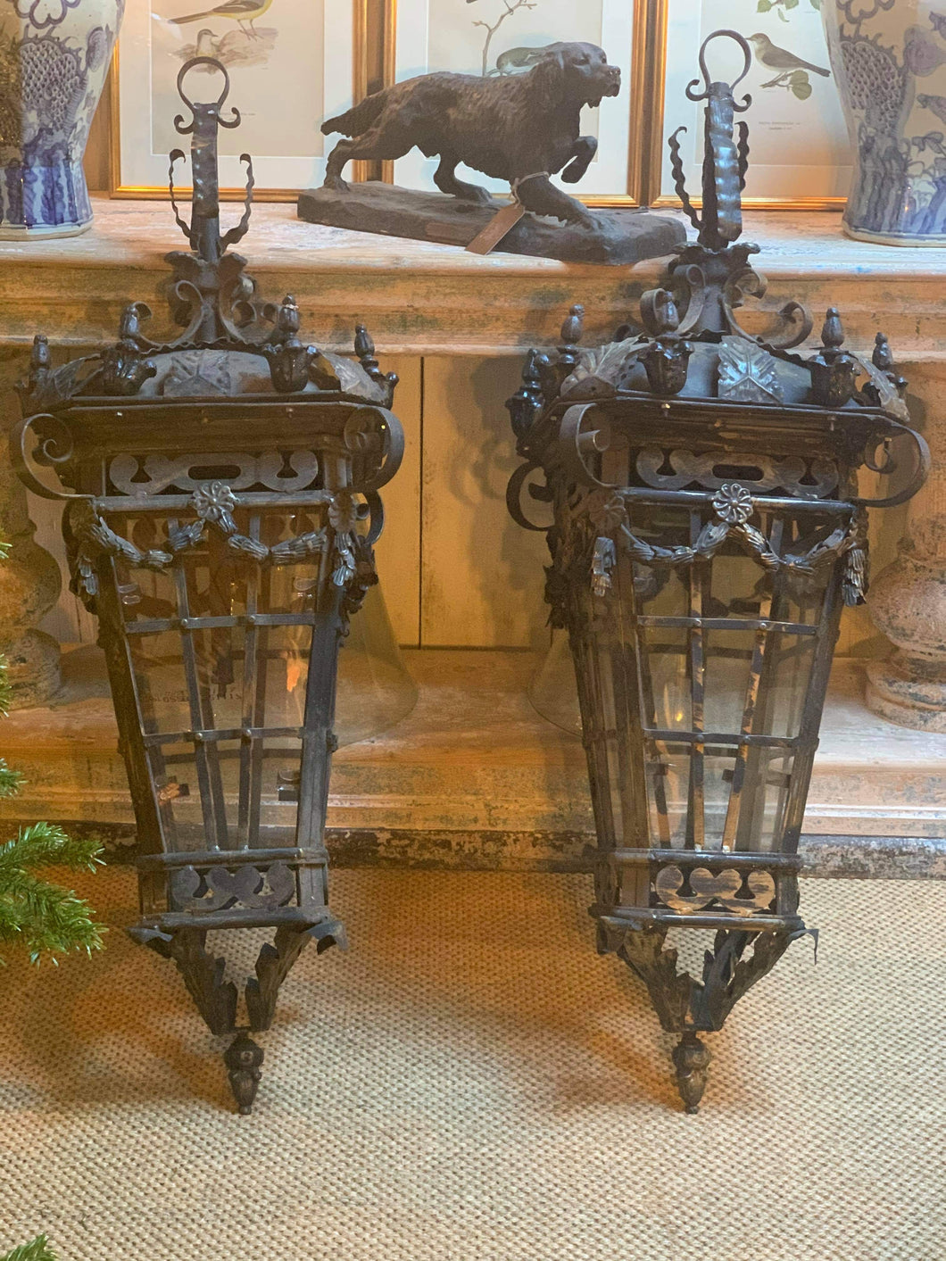 Huge pair of French garden lamps