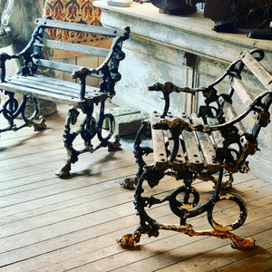 Great pair of Coalbrookdale garden chairs
