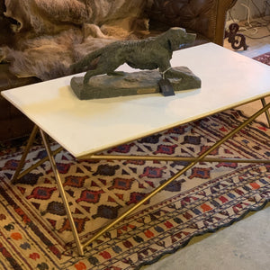Contemporary x framed coffee table with marble top