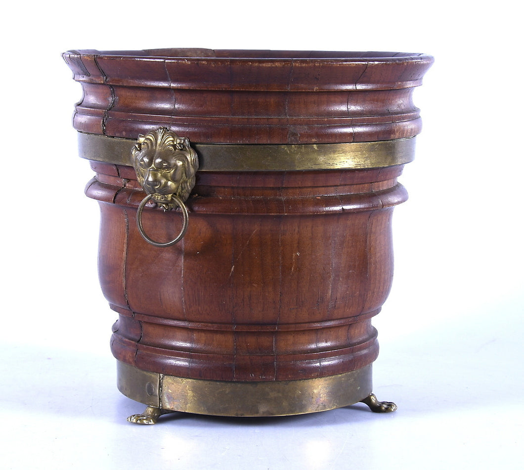 19th century oak and brass champagne bucket