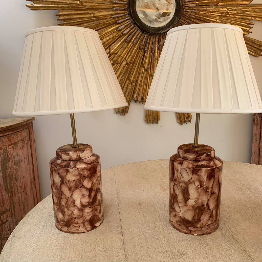 Pair of hand painted Italian lamps
